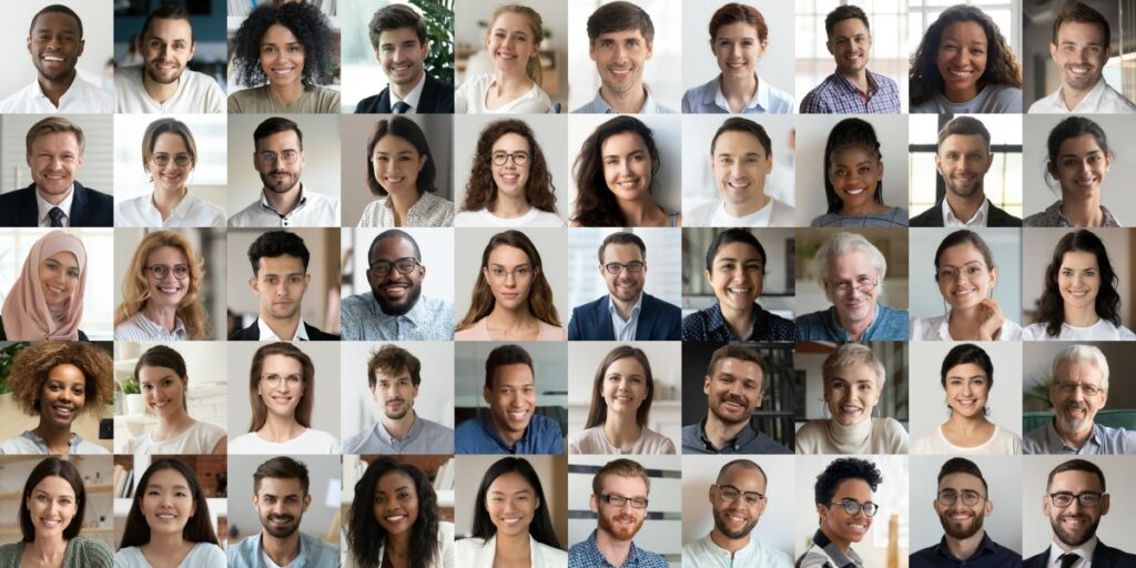 collage of portraits of different people of different race, age, and gender. all smiling