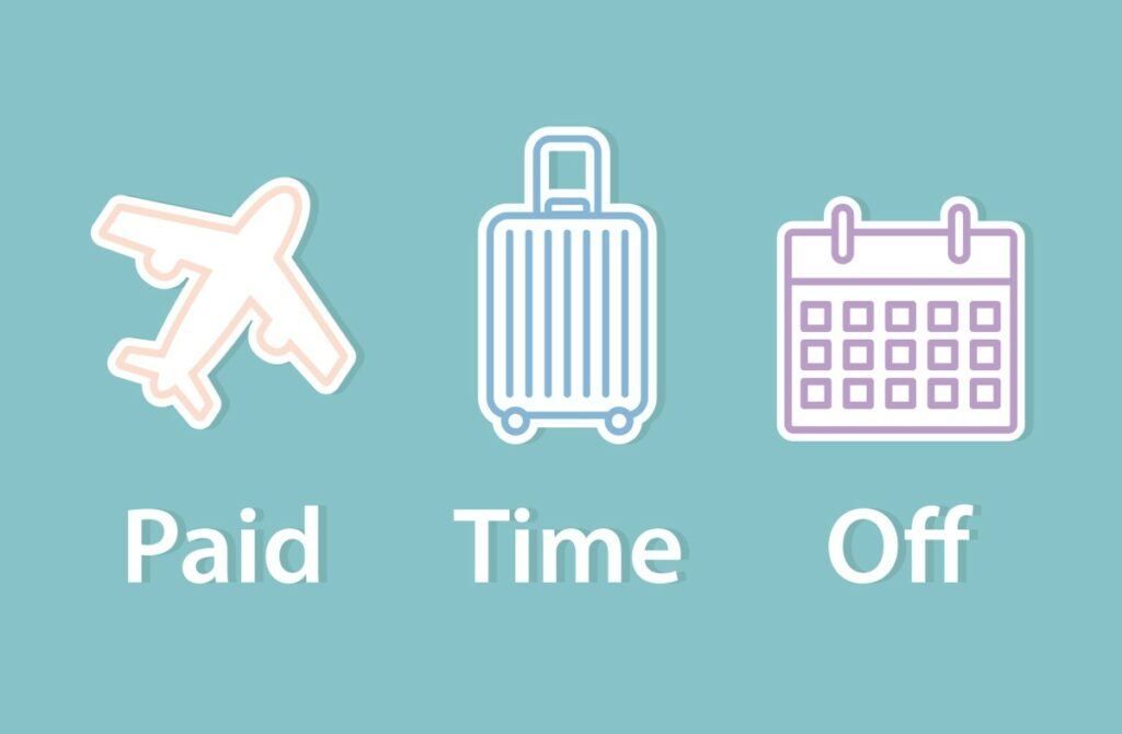 blue background and comic style icons - plane, suitcase, and calendar, spelling out paid time off in white letters