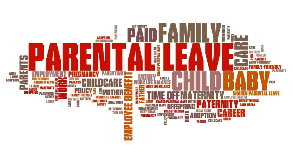 word cloud in red, orange and brown, showing words like parental leave, maternity, paid, family care, and everything related to that matter