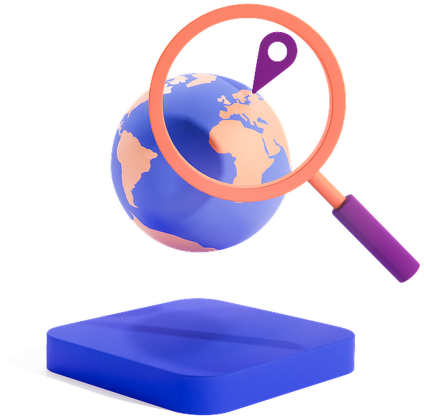 Globe with magnifying glass